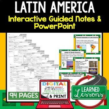 Latin America Guided Notes and PowerPoints Geography Print & Digital