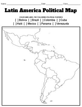 Latin America Political and Physical Map