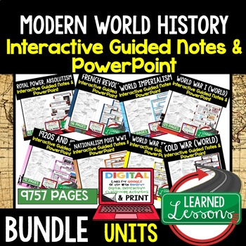 Latin America Post WWII Guided Notes PowerPoints Digital Distance Learning Print