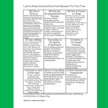 Latin America and the Caribbean Tic Tac Toe Choice Board Activity