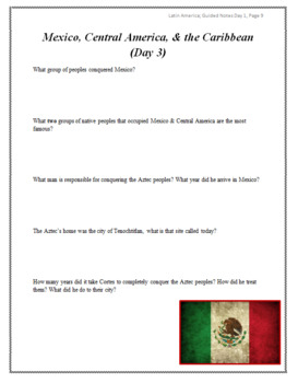 Latin American Geography Guided Notes Packet