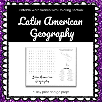 Latin American Geography Printable Word Search Puzzle