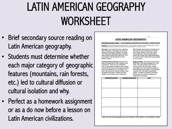 Latin American Geography Worksheet - Global/World History