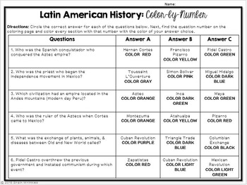 Latin American History: Color-by-Number