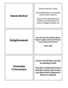 Latin American Revolution - Vocabulary Card Activity