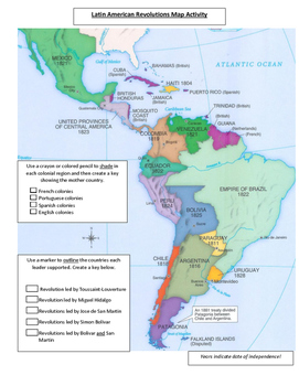 Colonial South America Map.Latin American Revolutions Map Activity By Teachersaurus Tpt