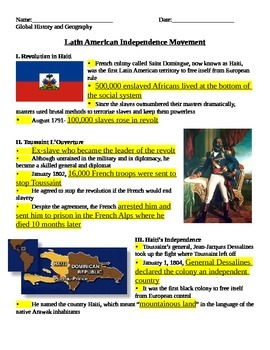 Latin American Revolutions NOTES