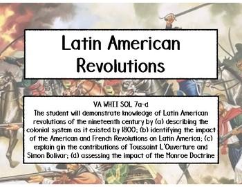 Latin American Revolutions Task Cards - World History II