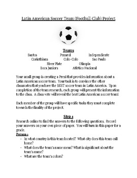 Latin American Soccer Team (Football Club) Group Project