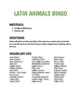 Latin Animals Bingo