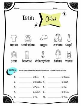 Latin Clothing Items Worksheet Packet