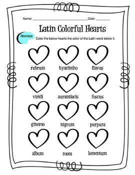latin colors worksheet by sunny side up resources tpt. Black Bedroom Furniture Sets. Home Design Ideas