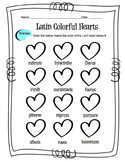 Latin Colors Worksheet