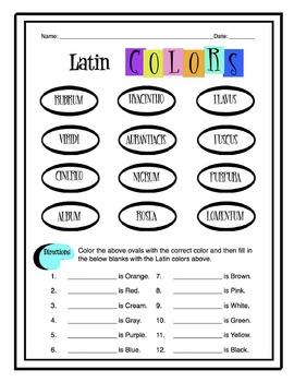 Latin Colors Worksheet Packet