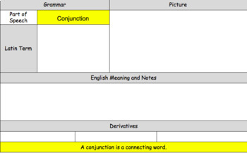 Latin Conjunction Vocabulary and Writing Practice Sheet