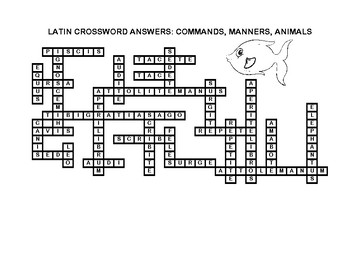 Latin Crossword Puzzle: Commands, Manners, & Animals
