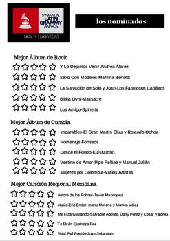 Latin Grammy Activity