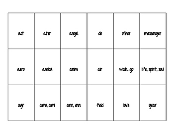 Latin/Greek Roots Matching Game 1