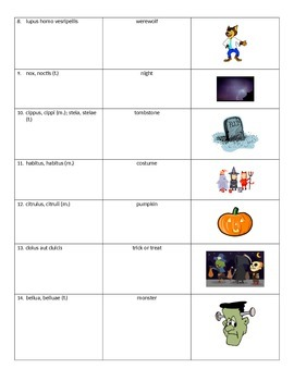 Latin Halloween Vocabulary
