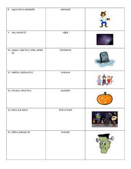 Latin Halloween Vocabulary