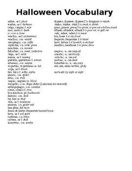Latin Halloween Word List
