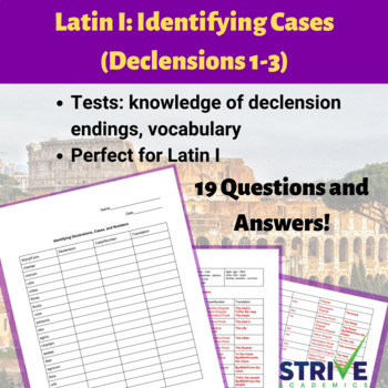 Latin I/II : Identifying Cases (Declensions 1-3)