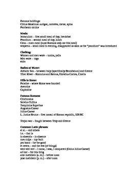 Latin I - list of common topics for National Latin Exam