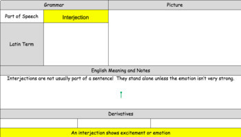 Latin Interjection Vocabulary and Writing Practice Sheet