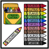 Latin Language Crayons with Color Names (High Resolution)