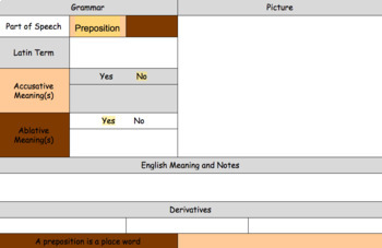 Latin Preposition  Vocabulary and Writing Practice Sheet
