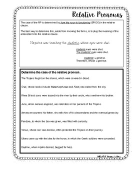 Latin Relative Pronouns Packet