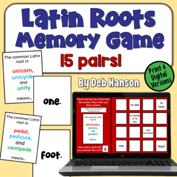 Latin Root Memory Game... FREE!  Plus, this blog post contains links to 5 other free printable grammar games!
