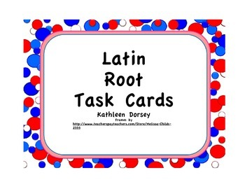 Latin Root Task Cards