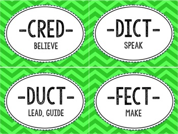 Closed Syllable Latin Root Word Cards and Activities