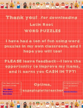 Latin Root Word Puzzles