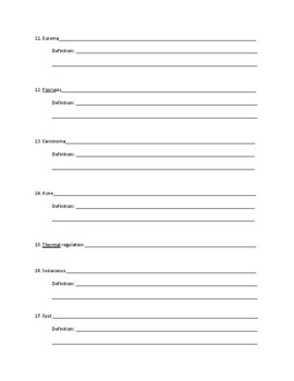 Latin Root Word Worksheet for a Unit on the Integumentary System