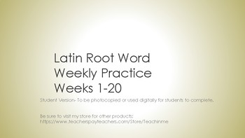 Latin Root Words Weeks 1-20