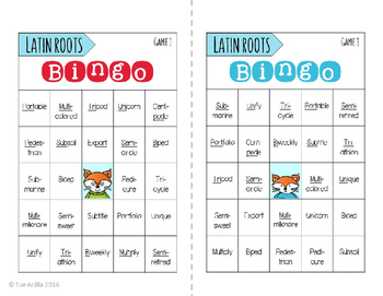 Latin Roots Bingo & Matching Game Set