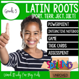 Latin Roots (JECT, PORT, DICT, TERR) Spelling Word Work Unit