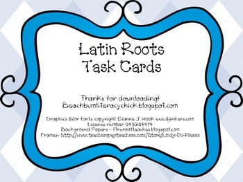 Latin Roots Task Cards