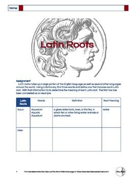 Latin Roots - Worksheet