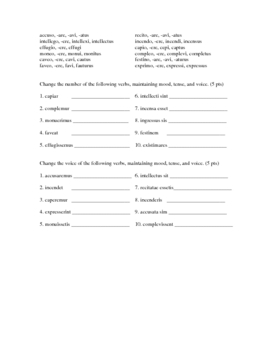 Latin Subjunctive Test on All Tenses