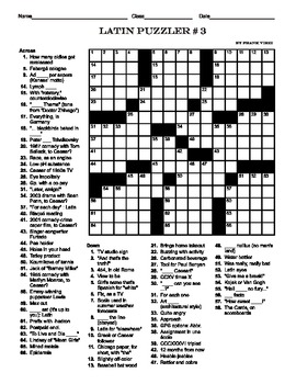 Latin Themed 15 X 15 Crosswords - Packet of Four Puzzles