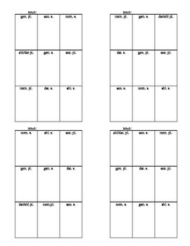 Latin Tic-Tac-Toe for Nouns and Verbs