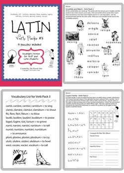 Latin Verb Bundle - 6 packs of Vocabulary Puzzles in one Value Bundle