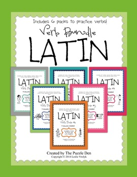 Latin Verb Bundle - 6 packs of Vocabulary Puzzles in one V