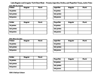 Latin Verb Conjugation Practice Sheet