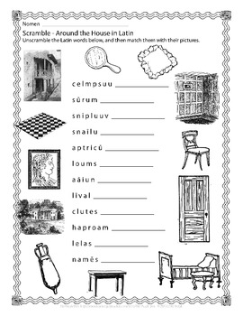 Latin Vocabulary Puzzles - Around the House Words for First Year Latin Students