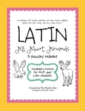 Latin Vocabulary Puzzles - Review of Animal Words for First Year Latin Students