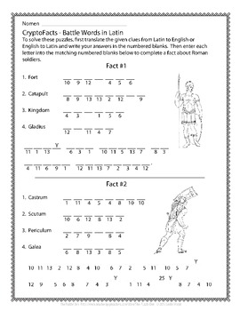 Latin Vocabulary Puzzles - Review of Battle Words for First Year Latin Students